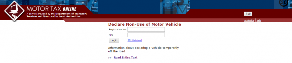 When do I declare a vehicle off the road?