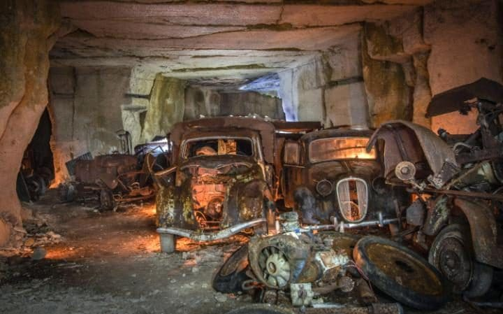 Abandoned 1930's era cars discovered in old quarry
