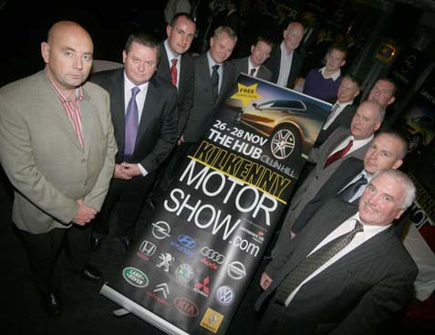 Launching the Kilkenny Motor Show in The Hub, Cillin Hill, on the 26th to the 28th of November are Kevin Morrissey, Chairman SIMI, Kilkenny Region, Ward Kinsella, Barlo Nissan, John O'Brien, O'Brien Renault, Denis Lahart, Laharts Garage, Gerry Hardagon, Permant TSB, Main Sponsor, Brian Cody, Jackie Tyrrell, Tom Cullen, SIMI, Cathal O'Neill, Kilkenny Citroen and Honda Centre, David Young, Young Motors, David Buggy, Buggy Motors and Michael Lyng, Michael Lyng Motors. (Photo: Eoin Hennessy/www.ehp.ie)