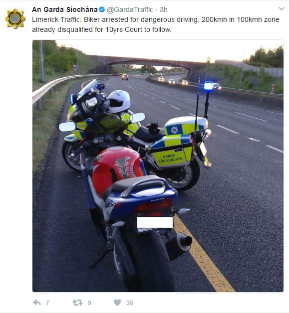 Disqualified motorcyclist caught speeding at 200 km/h