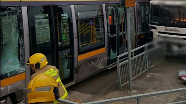 Two injured as truck collides with Luas tram