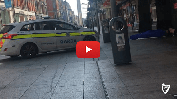 Garda cars now being used to wake up sleeping homeless people in Dublin city centre