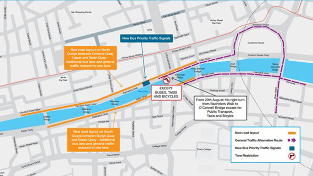 Due to new Luas tram operations, Cars will be reduced to one lane on Dublin's quays