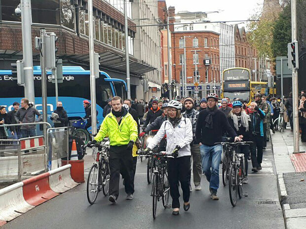Cyclists Protest New Luas Cross City Line In Protest