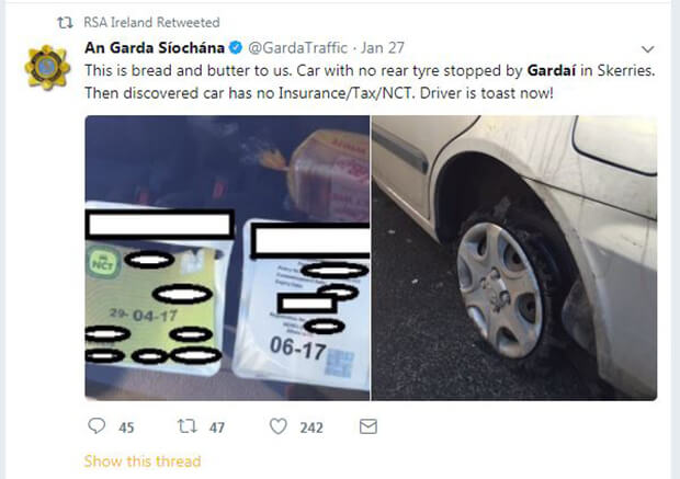 Garda Tweet - 'Driver is toast now'