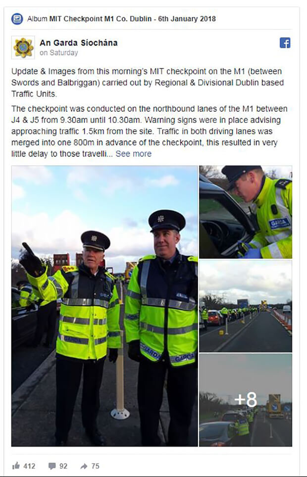 Bus driver arrested at Garda checkpoint on M1 motorway with passengers on board