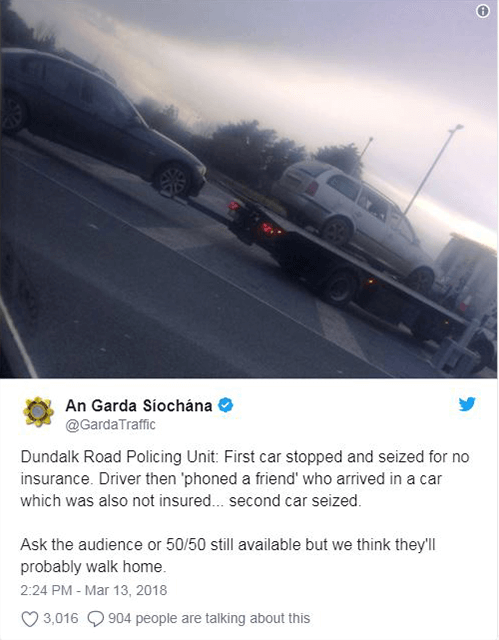 Gardaí seize two cars as 'phone a friend' goes badly wrong