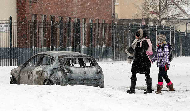 Several cars burnt out during snow time disturbances in Tallaght