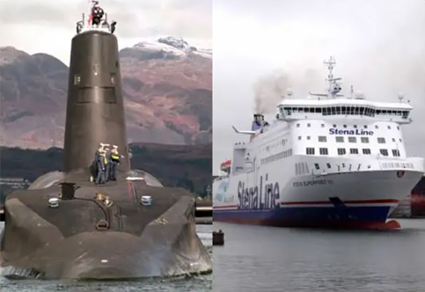 Ro-Ro Car Ferry In Near Miss with Nuclear Submarine in the Irish Sea