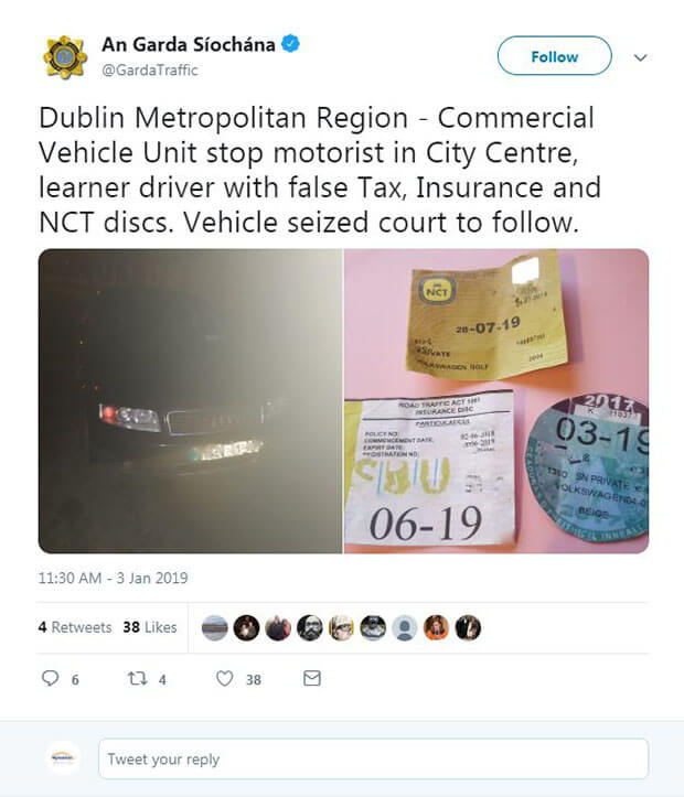 Fake tax, insurance and NCT discs
