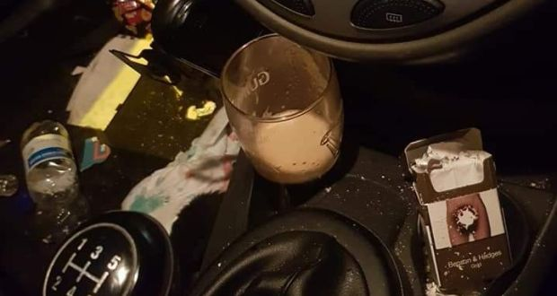 Driver stopped with pint of Guinness in car