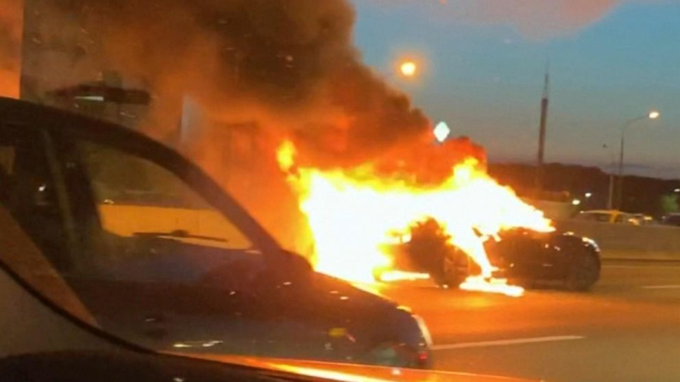 Tesla Model 3 bursts into flames