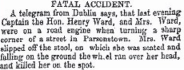 Irishwoman was the first person in history die in a car accident 1869