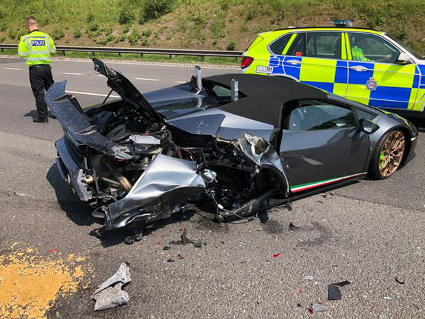 Lamborghini smashed up just minutes after leaving the showroom
