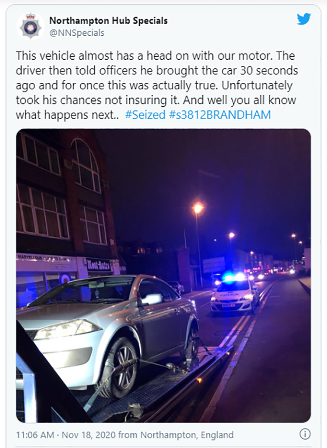 Brand new car seized by British cops